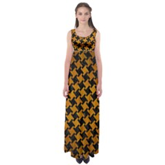 Houndstooth2 Black Marble & Yellow Grunge Empire Waist Maxi Dress