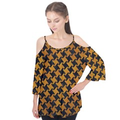 Houndstooth2 Black Marble & Yellow Grunge Flutter Tees