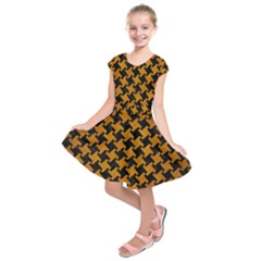 Houndstooth2 Black Marble & Yellow Grunge Kids  Short Sleeve Dress