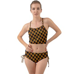 Houndstooth2 Black Marble & Yellow Grunge Mini Tank Bikini Set