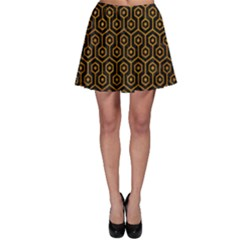Hexagon1 Black Marble & Yellow Grunge (r) Skater Skirt