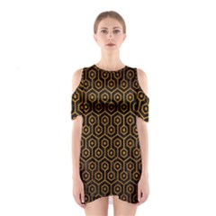 Hexagon1 Black Marble & Yellow Grunge (r) Shoulder Cutout One Piece