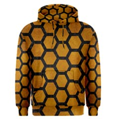 Hexagon2 Black Marble & Yellow Grunge Men s Pullover Hoodie