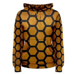 Hexagon2 Black Marble & Yellow Grunge Women s Pullover Hoodie