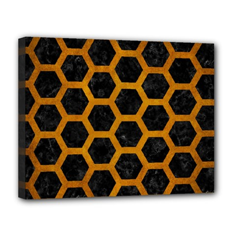 Hexagon2 Black Marble & Yellow Grunge (r) Canvas 14  X 11