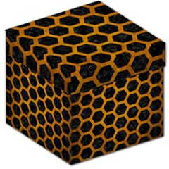 Hexagon2 Black Marble & Yellow Grunge (r) Storage Stool 12