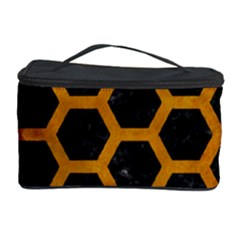 Hexagon2 Black Marble & Yellow Grunge (r) Cosmetic Storage Case