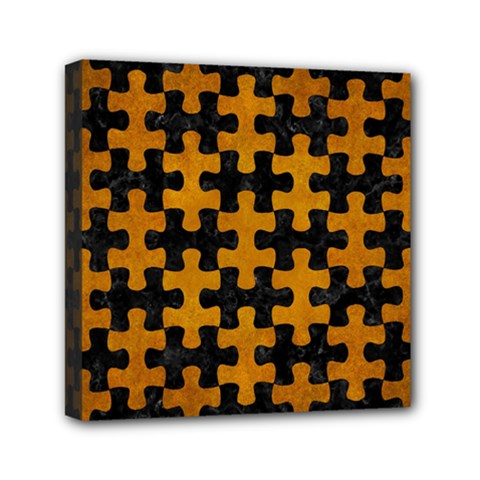 Puzzle1 Black Marble & Yellow Grunge Mini Canvas 6  X 6