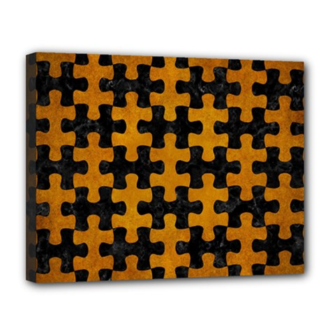 Puzzle1 Black Marble & Yellow Grunge Canvas 14  X 11