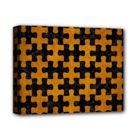 Puzzle1 Black Marble & Yellow Grunge Deluxe Canvas 14  X 11