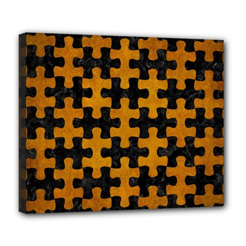 Puzzle1 Black Marble & Yellow Grunge Deluxe Canvas 24  X 20