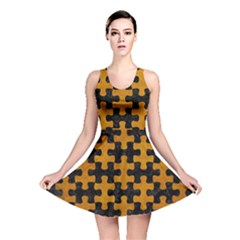 Puzzle1 Black Marble & Yellow Grunge Reversible Skater Dress
