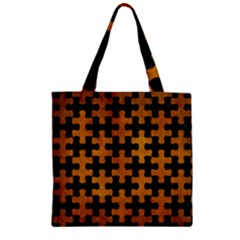 Puzzle1 Black Marble & Yellow Grunge Zipper Grocery Tote Bag