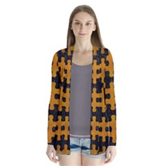 Puzzle1 Black Marble & Yellow Grunge Drape Collar Cardigan