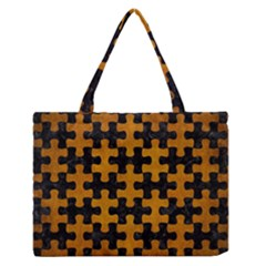 Puzzle1 Black Marble & Yellow Grunge Zipper Medium Tote Bag