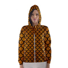 Scales1 Black Marble & Yellow Grunge Hooded Wind Breaker (women)