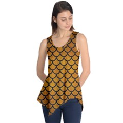 Scales1 Black Marble & Yellow Grunge Sleeveless Tunic
