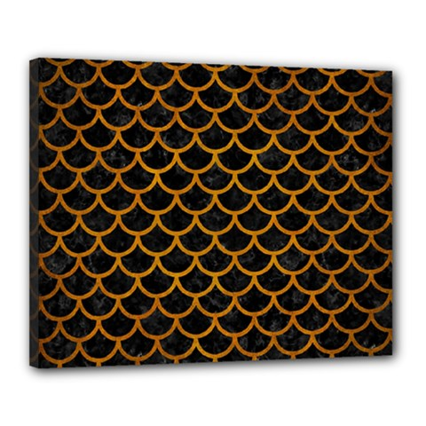 Scales1 Black Marble & Yellow Grunge (r) Canvas 20  X 16