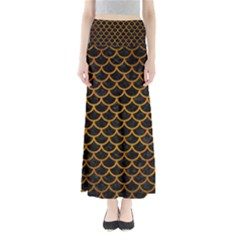 Scales1 Black Marble & Yellow Grunge (r) Full Length Maxi Skirt