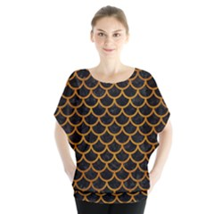 Scales1 Black Marble & Yellow Grunge (r) Blouse