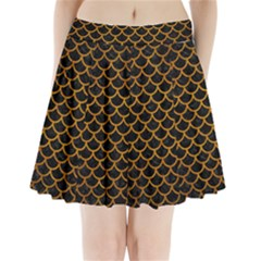 Scales1 Black Marble & Yellow Grunge (r) Pleated Mini Skirt