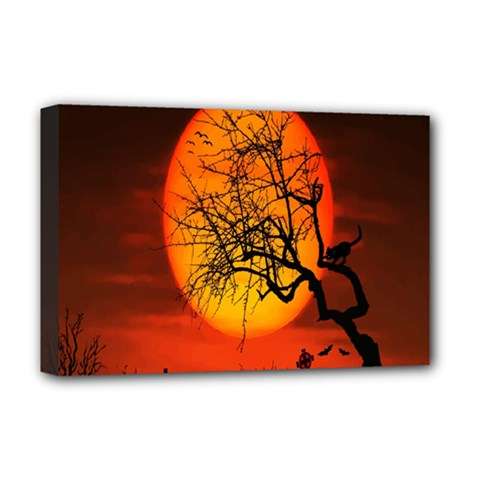 Helloween Midnight Graveyard Silhouette Deluxe Canvas 18  X 12