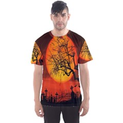 Helloween Midnight Graveyard Silhouette Men s Sports Mesh Tee