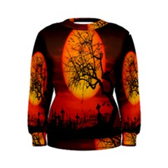 Helloween Midnight Graveyard Silhouette Women s Sweatshirt