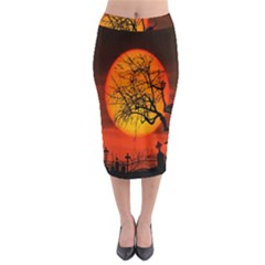 Helloween Midnight Graveyard Silhouette Midi Pencil Skirt