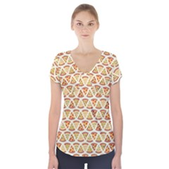 Food Pizza Bread Pasta Triangle Short Sleeve Front Detail Top