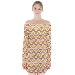 Food Pizza Bread Pasta Triangle Long Sleeve Off Shoulder Dress