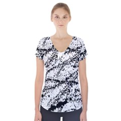 Ink Splatter Texture Short Sleeve Front Detail Top