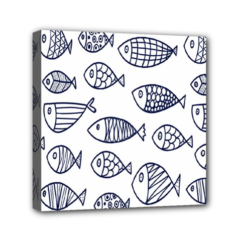 Love Fish Seaworld Swim Blue Sea Water Cartoons Mini Canvas 6  X 6
