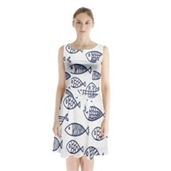 Love Fish Seaworld Swim Blue Sea Water Cartoons Sleeveless Waist Tie Chiffon Dress