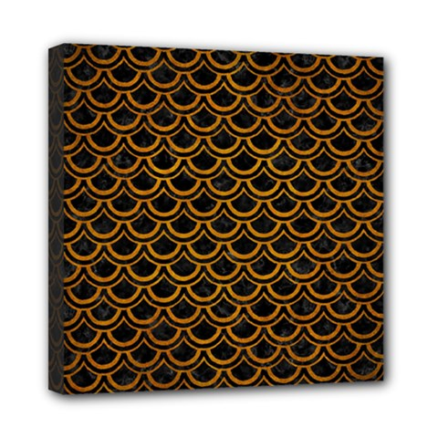 Scales2 Black Marble & Yellow Grunge (r) Mini Canvas 8  X 8