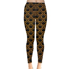 Scales2 Black Marble & Yellow Grunge (r) Leggings