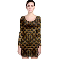 Scales2 Black Marble & Yellow Grunge (r) Long Sleeve Bodycon Dress