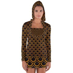 Scales2 Black Marble & Yellow Grunge (r) Long Sleeve Hooded T Shirt