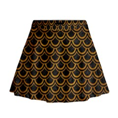 Scales2 Black Marble & Yellow Grunge (r) Mini Flare Skirt