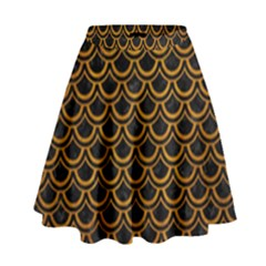 Scales2 Black Marble & Yellow Grunge (r) High Waist Skirt