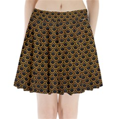 Scales2 Black Marble & Yellow Grunge (r) Pleated Mini Skirt