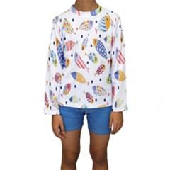 Love Fish Seaworld Swim Blue White Sea Water Cartoons Rainbow Kids  Long Sleeve Swimwear