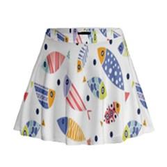 Love Fish Seaworld Swim Blue White Sea Water Cartoons Rainbow Mini Flare Skirt