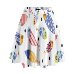 Love Fish Seaworld Swim Blue White Sea Water Cartoons Rainbow High Waist Skirt