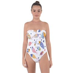 Love Fish Seaworld Swim Blue White Sea Water Cartoons Rainbow Tie Back One Piece Swimsuit
