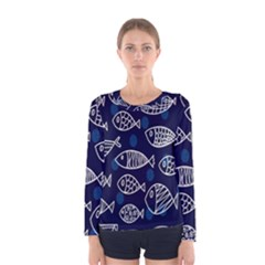 Love Fish Seaworld Swim Blue White Sea Water Cartoons Women s Long Sleeve Tee