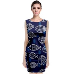 Love Fish Seaworld Swim Blue White Sea Water Cartoons Classic Sleeveless Midi Dress
