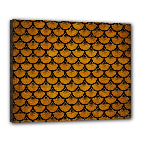 Scales3 Black Marble & Yellow Grunge Canvas 20  X 16