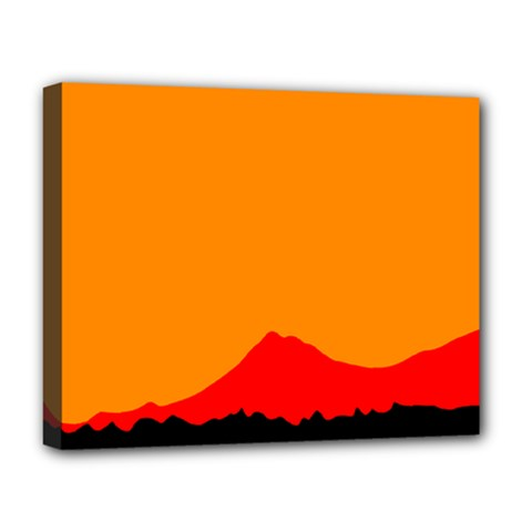 Mountains Natural Orange Red Black Deluxe Canvas 20  X 16