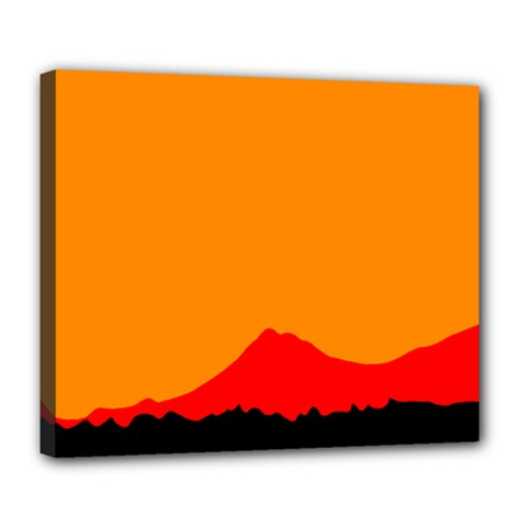 Mountains Natural Orange Red Black Deluxe Canvas 24  X 20